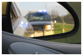 Police Car Reflection in Car Mirror, Criminal Defense, Hackensack, NJ